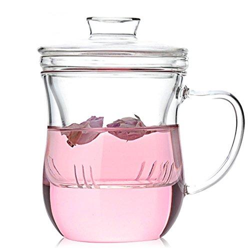 asentechuk® Résistant à la chaleur tasse en verre transparent Filtre Fleur Tasse à thé avec couvercle Fournitures de bureau