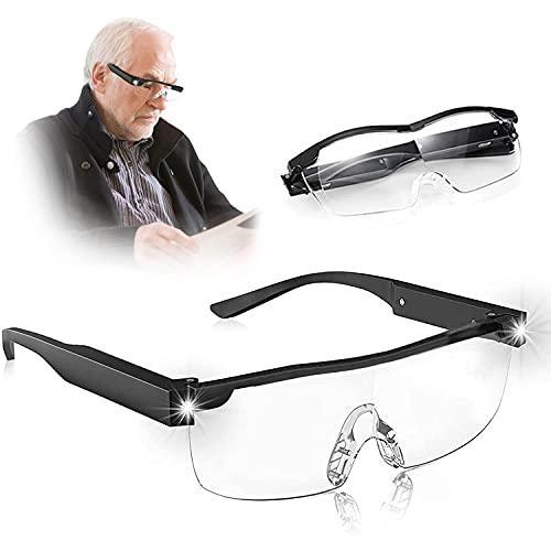 Mifine Gafas de Lectura con Luz Led, Ayudas y lupas de Lectura Anti-Azules Aumento Gafas Lupas de 250 Grados para Mujer y Hombre(5 Pilas de Respaldo ) (2.5+)