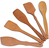 ECOSALL Nonstick Wooden Spoons For Cooking – 5 European Premium Spoons Set - 100% Healthy and Natural Wooden Spatula – Long Handled, Strong, Durable, Solid Wood Cooking Utensils for Everyday Cooking
