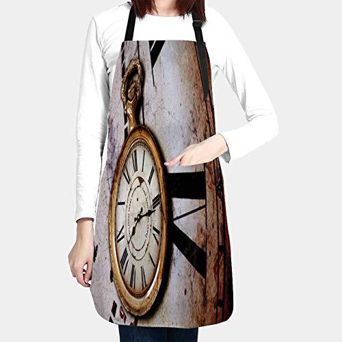 RUEMAT Delantales de Cocina con Bolsillo,Fondo con Relojes Antiguos,Delantal Impermeables para Hombre Mujer Delantale para Jardinería Restaurante Barbacoa Cocinar Hornear