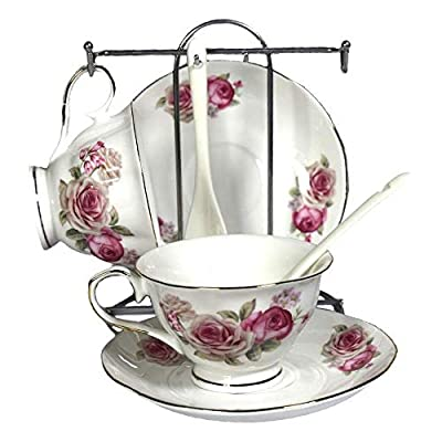 Porcelain Tea Cup and Saucer Coffee Cup Set with Saucer and Spoon by Wandeful, Set of 7 (2 Tea Cups, 2 Saucers, 2 Spoons, and 1 Bracket)
