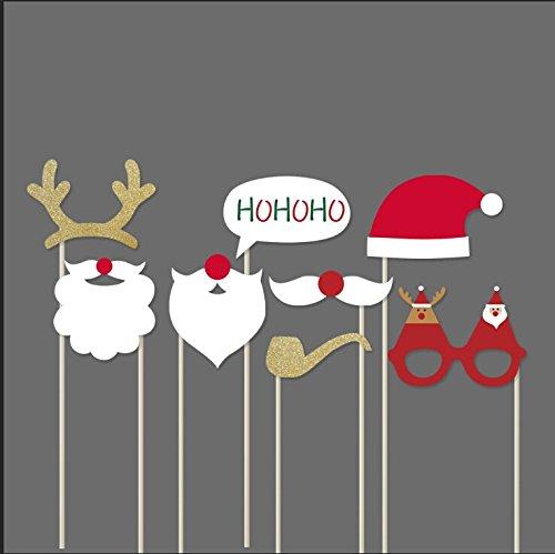 SUNBEAUTY 8er Set Weihnachtsfeier Fotorequisiten Booth Props Bart Party Masken (Weihnachtsmann)