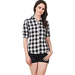 DAMEN MODE Womens Cotton Checkered Shirt