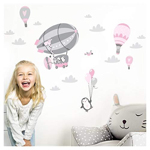 Little Deco DL358 - Adhesivo decorativo para pared, diseño de animales en el zeppelin, tamaño M, 112 x 59 cm, color rosa