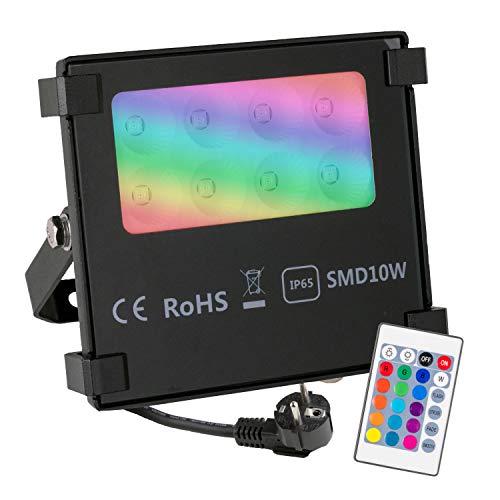 POPP® Foco RGB Led 10W Exteriores Control Remoto, Impermeable IP65 resistente al agua, Modos de luz, Proyector LED de colores, Decoración de jardín, terraza, Navidad 16 Colores y 4 Modos (10)
