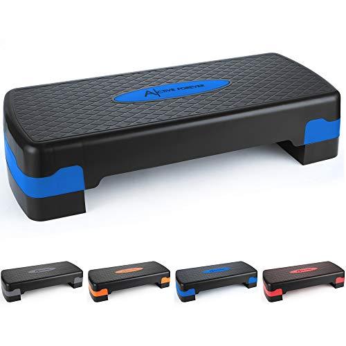 ActiveForever Entrenamiento Ajustable Aerobic Stepper en Fitness y Ejercicio Step Platform Trainer Stepper w Risers Ajuste 10cm   15cm (Azul Negro)