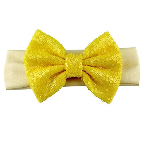 Infantile Bandeau élastique à sequins pour filles avec grand nœud doré à paillettes Accessoire pour cheveux, 80 cm