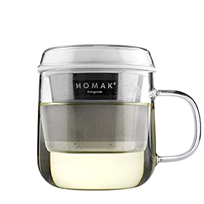 HOMAK - Tea/Coffee Glass Mug with Stainless Steel Infuser and Lid, Superb Double-Layer Strainer, for Loose Tea or Coffee Powder - Large (420ml / 14oz) (Single Walled Glass, White)