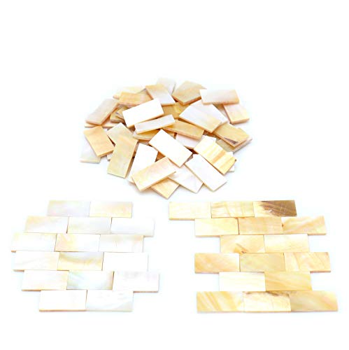 """Tueascallk 100 Pcs of Rectangular Natural Mother-of-Pearl Mosaic Tiles, for Home Decoration and Handmade Crafts, 0.8""""(L) x 0.4""""(W) x 0.065""""(T)"""
