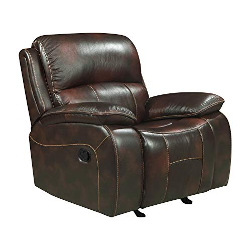 Homelegance Mahala Glider Recliner Chair Top Grain Leather Match Vinyl, Brown