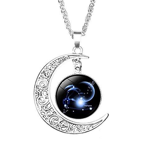 YUANYUAN520 12 Constelación del Zodiaco del Collar Colgante de Cristal Doble cabujón Galaxy Constelación Horóscopo Astrología Collar de Las Mujeres de los Hombres de joyería Joyería (Metal Color : 9)
