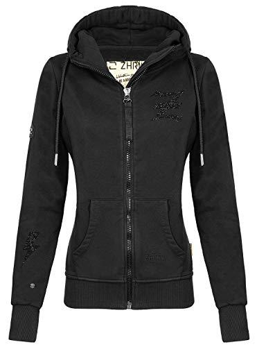 Zhrill Damen Zip Hoodie Kapuzenjacke Sweatjacke Slim Fit Sportlich Lässig June, Größe:S, Farbe:T907 - Black