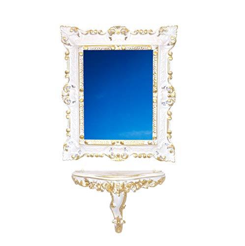 Idea Casa Set Consolle + Specchio Bianco Oro Finto Barocco Stile Shabby Chic Veneziano