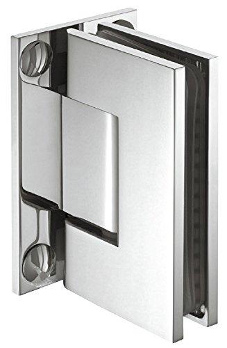 Glastürbeschlag Messing Bad-Türscharnier für Glastüren und Duschen Duschtürband chrom poliert | Duschkabinen-Scharnier für Wand zu Glas Verbindung | Glastürband Messing chrom poliert | 1 Stück