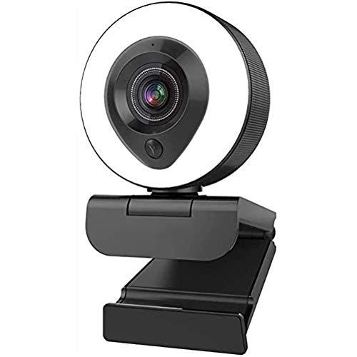 BSTQC Cámara 4k Web del Webcam de la cámara de Enfoque automático Ordenador con micrófonos duales y Luces del Anillo de la cámara de HD cámara de vídeo para Juegos de Medios sociales 4k Webcam
