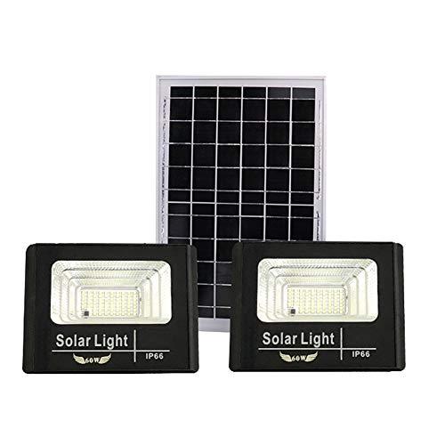 LED Solar Foco Proyector Exteriores, Dusk To Dawn IP66 Reflectores De Seguridad Con Energía Solar A Prueba De Agua Con Iluminación De Seguridad De Control Remoto(Color:60W*2)