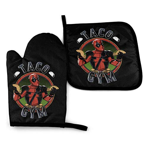Lsjuee Retro Dead Taco Gym Guantes y agarraderas para Horno Resistentes al Calor con algodón Neopreno Silicona Juego de Cocina Antideslizante para Barbacoa Cocinar Hornear Asar a la Parrilla