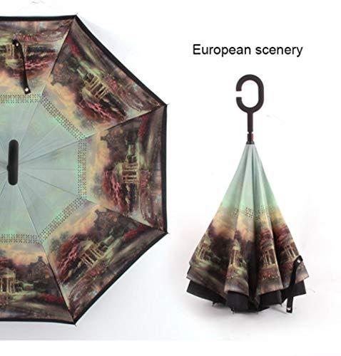 Yukie C Handvat Winddichte Omgekeerde Vouwparaplu Man Vrouwen Zon Regen Auto Omgekeerde Paraplu's Dubbele Laag Anti UV Zelf Stand Parapluie