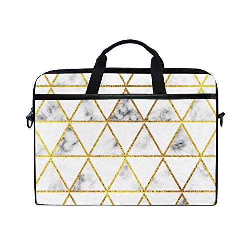 AGONA White Marble Gold Triangles Laptop Shoulder Messenger Bag 15 inch Case Sleeve for 14 Inch Laptop Case Laptop Briefcase Compatible Notebook MacBook Ultrabook Chromebook for Men Women