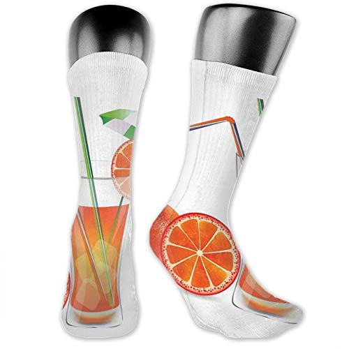 Moruolin Cool Colorful Fancy Novelty Casual Cotton Socks,Glass Of Orange Juice With Fruits With Colorful Straws Summertime Theme