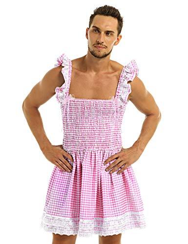 TiaoBug Herren Sissy Dessous Mann Rüschen Raffung Kariert Kleider Spitzen Crossdressing Kostüme Erotik Reizwäsche Sexy Kleidung in Rosa Blau Rosa Large