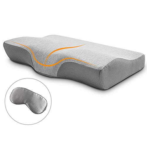 Winjoy Contour Memory Foam Pillow for Sleeping, Orthopedic Sleeping Pillow, Ergonomic Cervical Pillow for Neck Pain, Neck Support for Back, Side Sleepers with Washable Hypoallergenic Pillowcase …