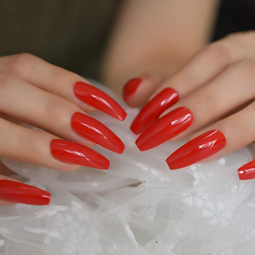 WOVP Faux Ongles Extra Long Shape False Press on Flame Red Nails Gel Glue on Fingersnails Free Adhesive Tapes