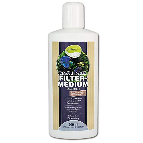 primuspet Natürliches Aquarium Filtermedium (GRATIS Lieferung in DE - Wasseraufbereiter für kristallklares und natürlich gesundes Aquariumwasser. Entfernt Mulm und Schlamm), Inhalt:500 ml