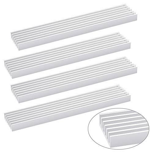 PERFETSELL 4Pcs Aluminium-Kühlkörper, LED-Kühlkörper 100X20X6mm Kühlrippen für LED, Transistor, Prozessor, Laptop, Halbleiter