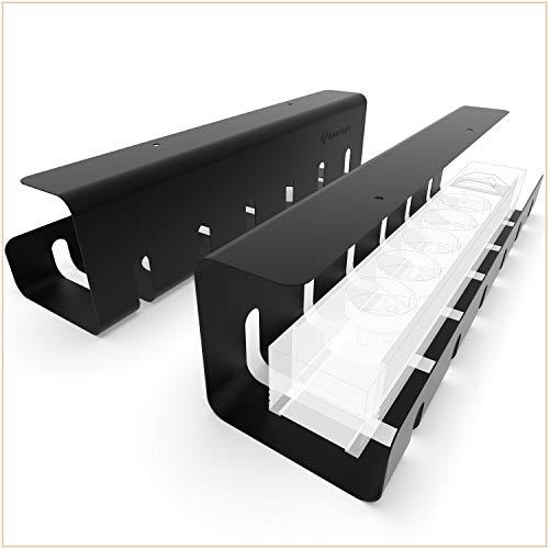 UNITURE® [2er Set] Kabelkanal Schreibtisch für ordentliches Kabelmanagement - Kabelhalter Schreibtisch mit einfacher Montage und zeitlosem Design - 2x40cm - Kabelführung für Home-Office (Schwarz)