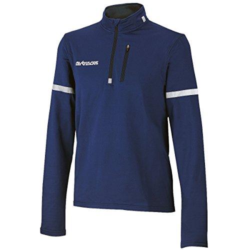 Airtracks Maillot de cyclisme thermique à manches longues - En polaire - Séchage rapide - Chaud - Respirant - Réflecteurs. S bleu