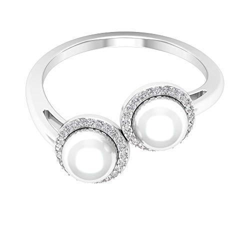 Anillo de dos piedras, anillo halo de diamante, anillos de promesa de perlas 14K Oro blanco