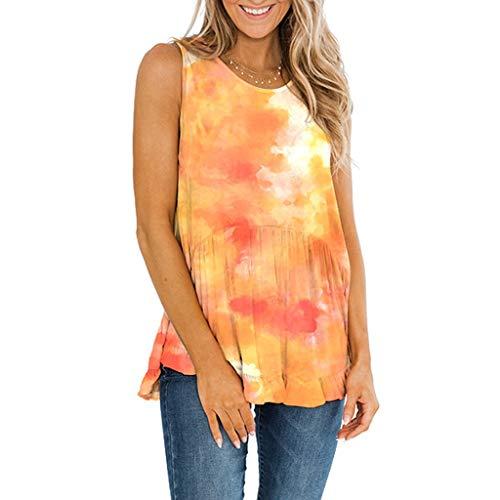 BHYDRY Damen Sommer Tie-Dye ärmellose Rüschen T-Shirt mit Rundhalsausschnitt Casual Tank Tops