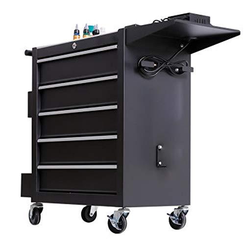 Verktygsskåp verktyg vagn med låda tatuering arbetsbänk verkstad verktyg tennskåp multifunktionellt bilreparationsverktyg vagn verktyg vagn arbetsutrustning vagn (färg: Svart, storlek: 62 x 33 x 74 cm )