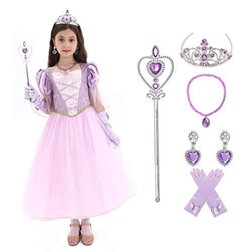 Sincere Party Mädchen Prinzessin Rapunzel inspirierte Kostüm mit Accessoires 5-6Jahre