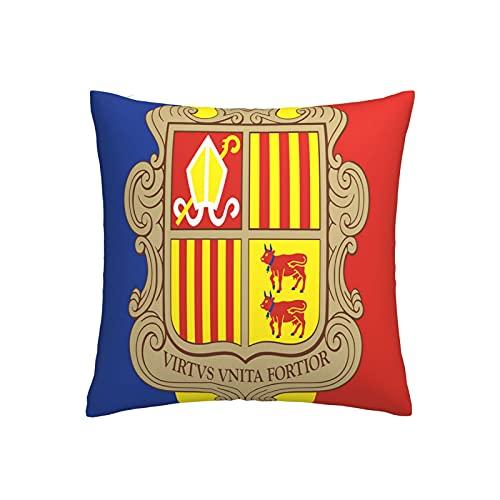 Kissenbezug mit Andorra-Flagge, quadratisch, dekorativer Kissenbezug für Sofa, Couch, Zuhause, Schlafzimmer, drinnen & draußen, niedlicher Kissenbezug 45,7 x 45,7 cm