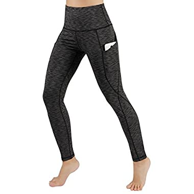 ODODOS High Waist Out Pocket Yoga Pants Tummy Control Workout Running 4 Way Stretch Yoga Leggings,SpaceDyeCharcoal,Medium