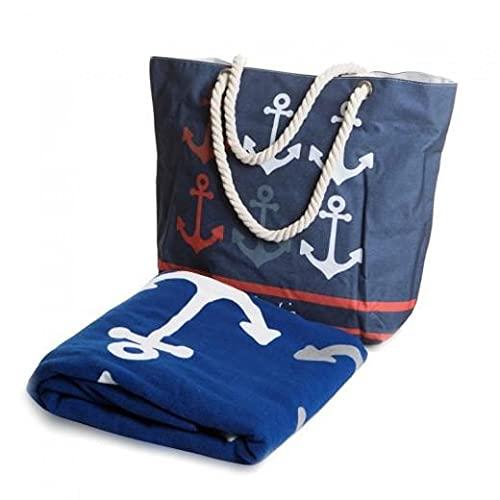 SomProduct Teo Pierre Cardin - Juego de bolsa de playa y toalla (100 x 180 cm), multicolor