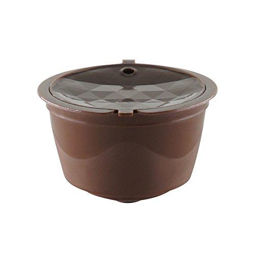 Detrade 1 Stück Nachfüllbare Kaffeekapsel Tasse Wiederverwendbare Filter Kompatibel mit Dolce Gusto Nescafe (Brown)