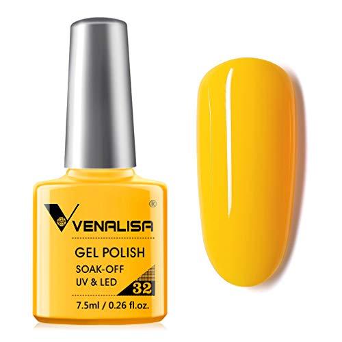 VENALISA Gel Nail Polish-Yellow Color Soak Off UV LED Nail Gel Polish Nail Art Starter Manicure Salon DIY at Home