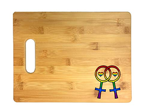 Lesbian Pride Interlocking Venus Symbols LGBT Thick 3D COLOR Printed Bamboo Cutting Board - Wedding, Housewarming, Anniversary, Birthday, Mother's Day, Gift