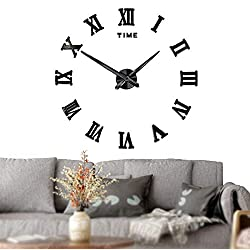 Mintime Frameless DIY Wall Clock 3D Acrylic Sticker Roman Numbers Adhesive Modern Art Wall Clock Parts Kit Home Decorations for Living Room Bedroom