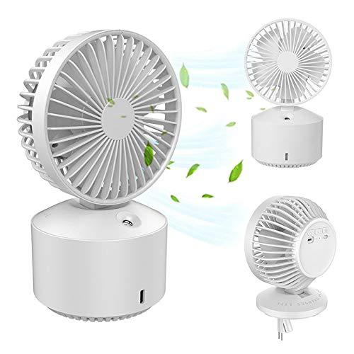 Ventilador de Escritorio USB, pequeño Ventilador de Mesa de Escritorio Personal con Viento Fuerte, Viento de 5 velocidades y 2 Modos de pulverización, Mini Ventilador portátil,Blanco