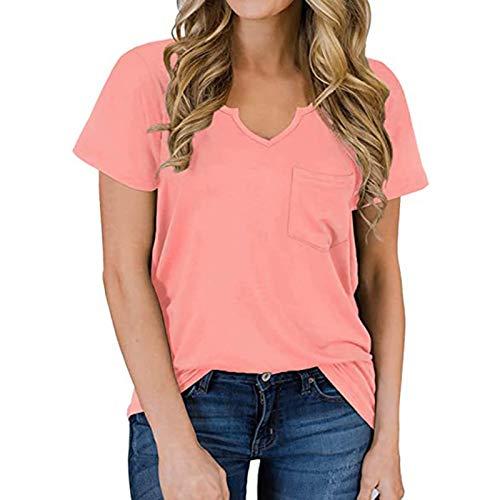 SLYZ Primavera Y Verano Mujer Camiseta con Bolsillo con Cuello En V Color Sólido Cuello En V Manga Corta Suelta Top Mujer
