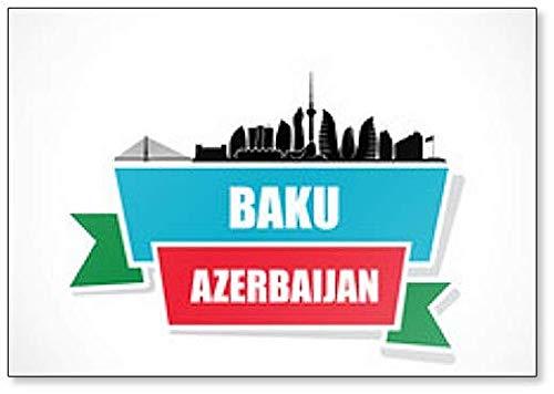 Baku Skyline – Aserbaidschan – Illustration Kühlschrankmagnet