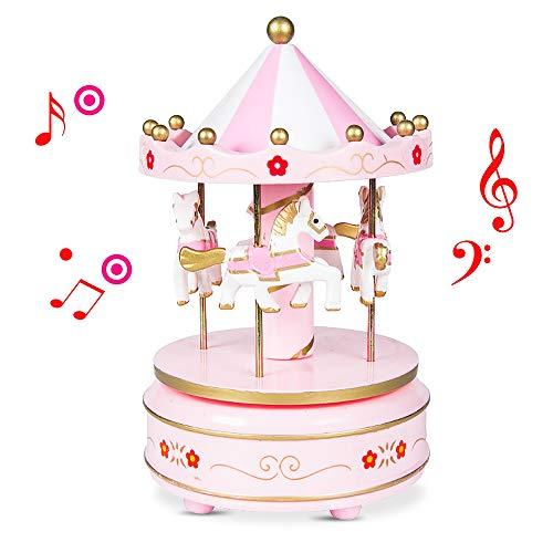 kabinga Carrusel01 Carrousel muziekbox paard van hout interessante decoratie voor verjaardag, roze bloem 1, hout, roze, M