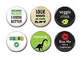 Insignias vegetarianas de 6 – 25 mm, set de 6 insignias de botón, regalo vegano, insignia de botón, imanes de nevera, insignias vegetarianas, insignias de botón de alfiler, 13 unidades