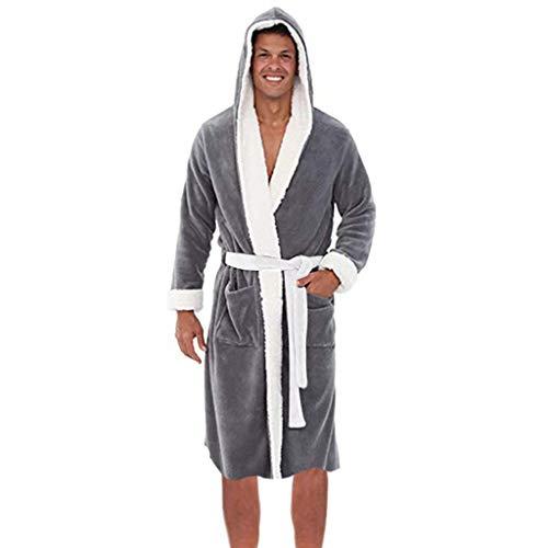 Dasongff Heren pluizige fleece badjas tweekleurige flanel huismantel met capuchon ochtendjas nachtkleding XXXXXL grijs