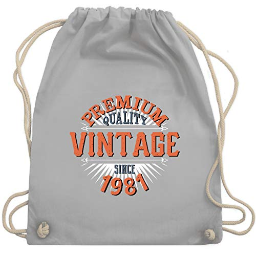 Shirtracer Geburtstag - 40. Geburtstag Vintage 1981 - Unisize - Hellgrau - turnbeutel 1978 - WM110 - Turnbeutel und Stoffbeutel aus Baumwolle