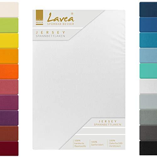 Lavea Jersey Spannbettlaken, Spannbetttuch, Serie Maya, 200x220cm für Boxspring- und Wasserbetten, Weiss, 100% Baumwolle, hochwertige Verarbeitung, mit Gummizug
